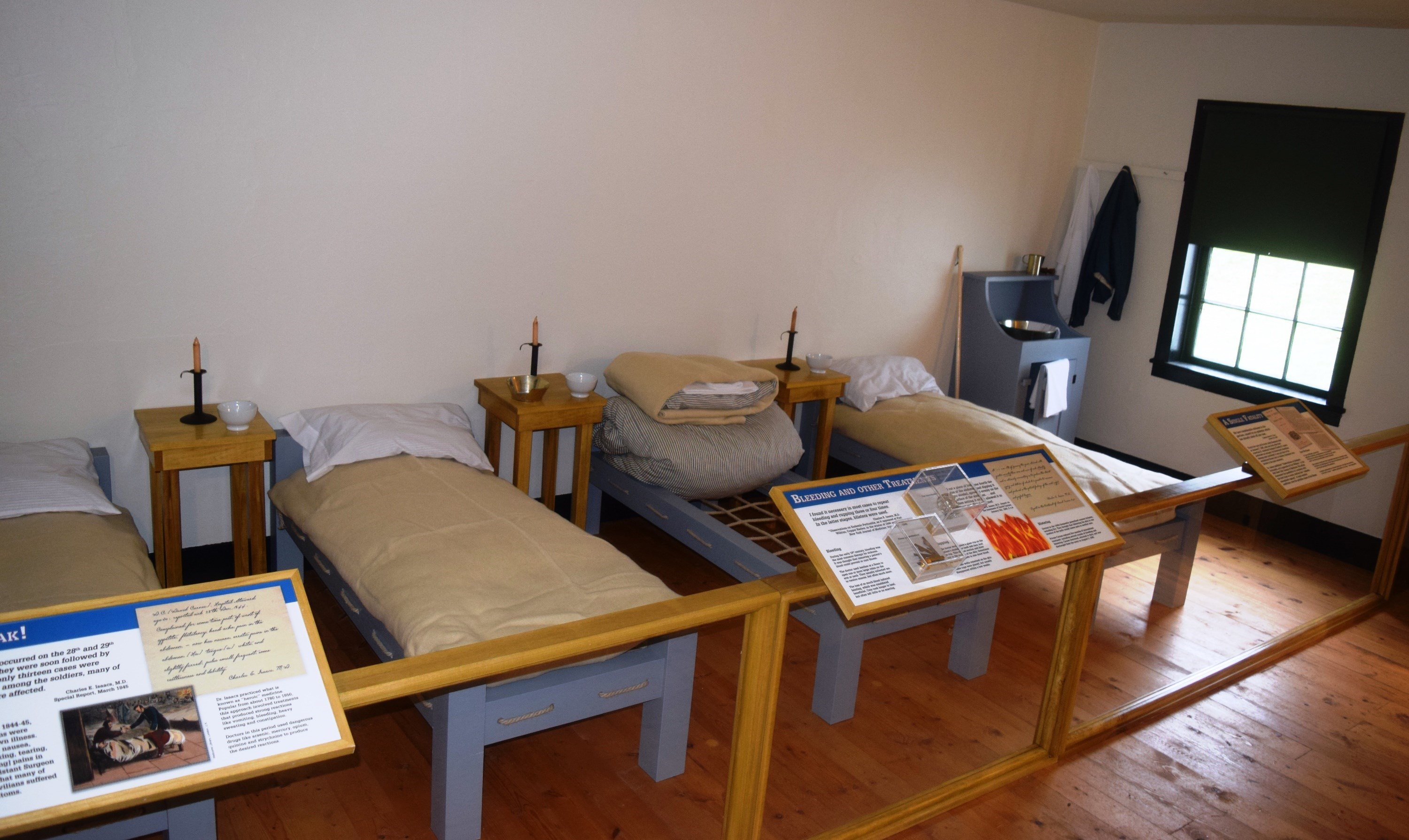 A new exhibit at Fort Wilkins Historic State Park in Copper Harbor takes visitors into the actual hospital ward where sick soldiers were cared for during a mysterious epidemic there more than 150 years ago (Source: DNR)