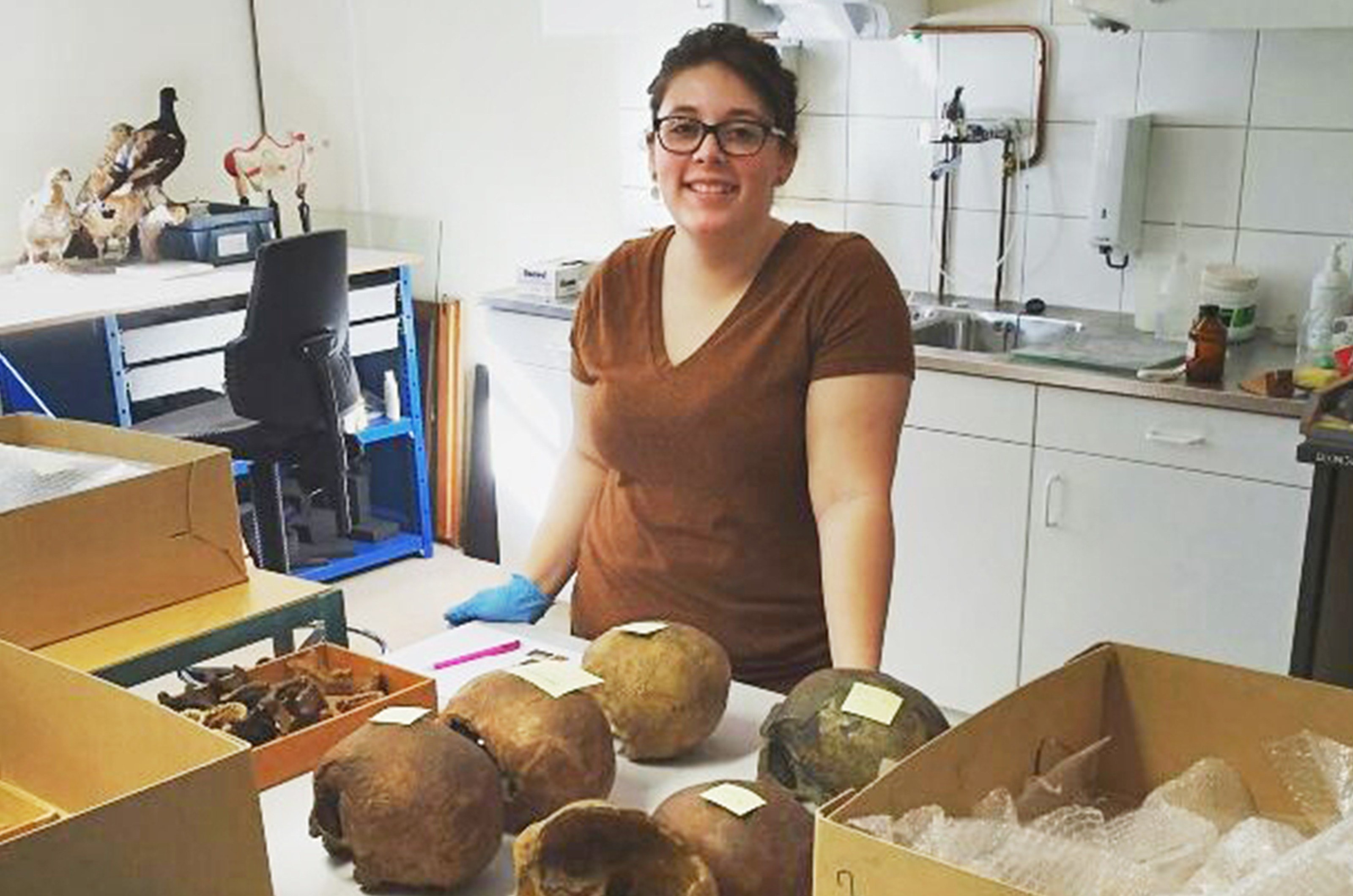 Central Michigan University senior Ashley Blackburn processes skulls as part of her self-created internship at the University of Groningen's museum in The Netherlands. (Source: CMU)