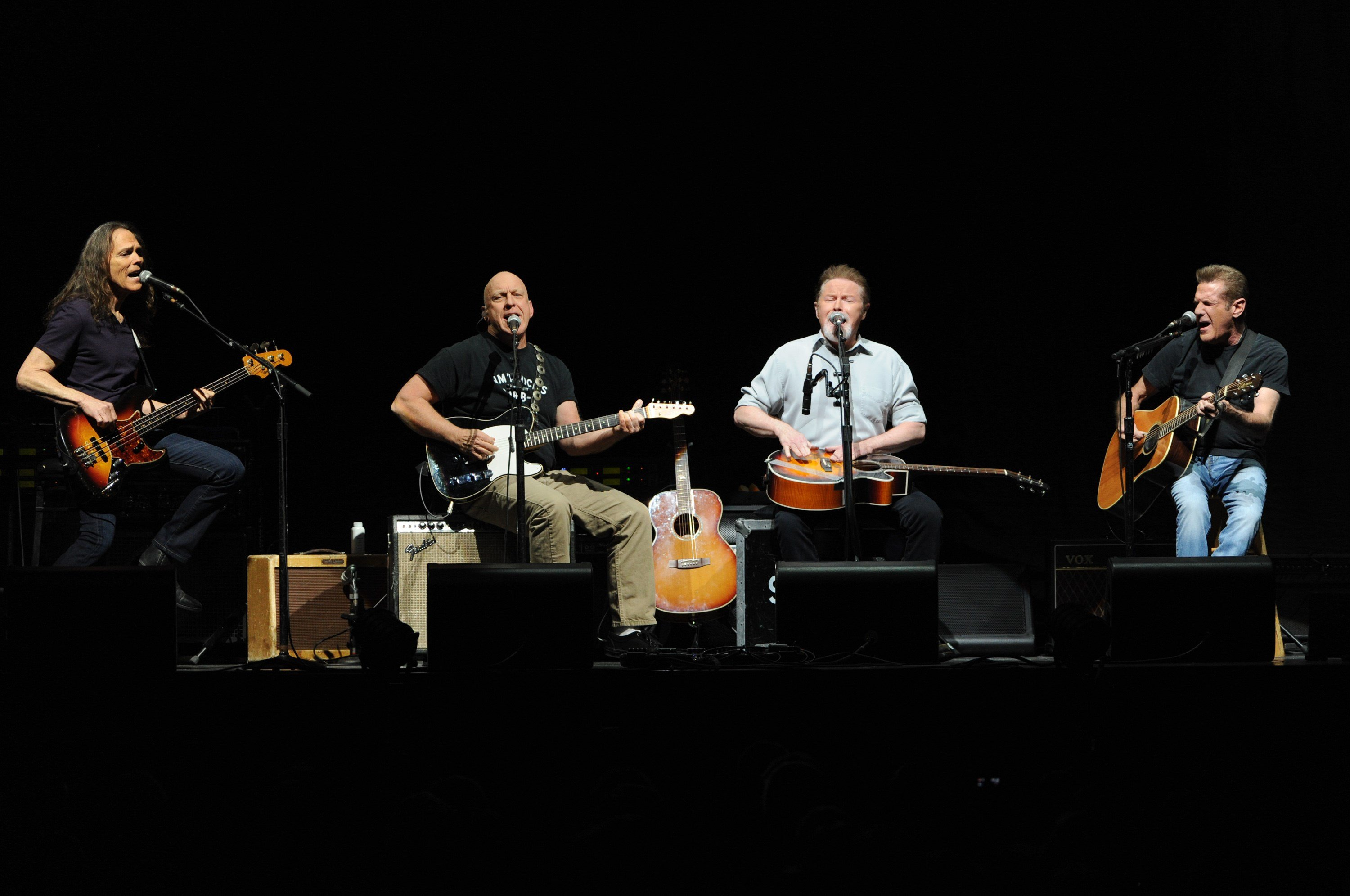 The Eagles, from left, Timothy B. Schmit, Bernie Leadon, Glenn Frey and Joe Walsh perform at Madison Square Garden on Friday, Nov. 8, 2013 in New York. (Source: Associated Press)