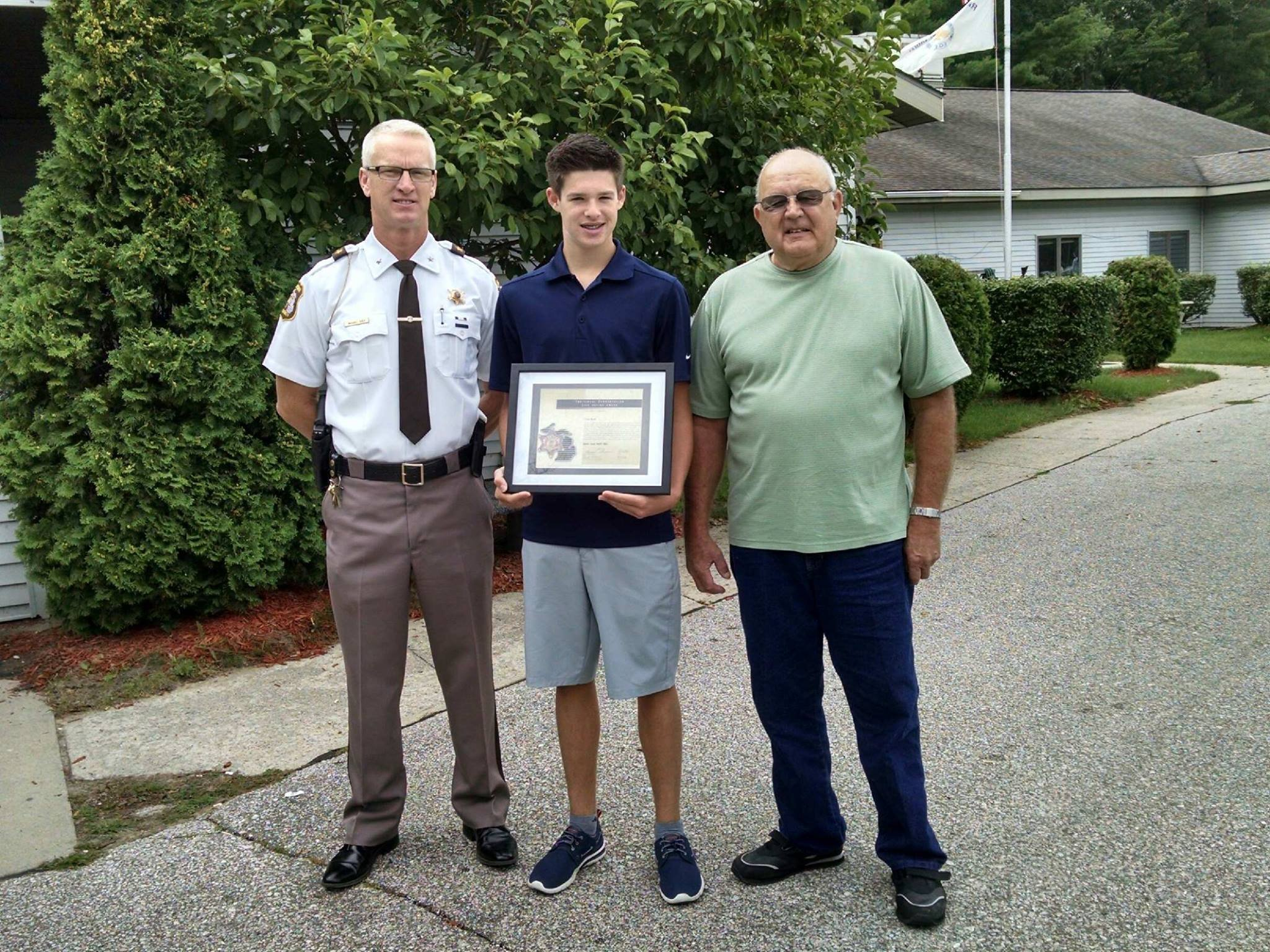 Sheriff Mike Shea, Cade Beall, Bob Schneider (L-R) Source: Gladwin County Sheriff's Office