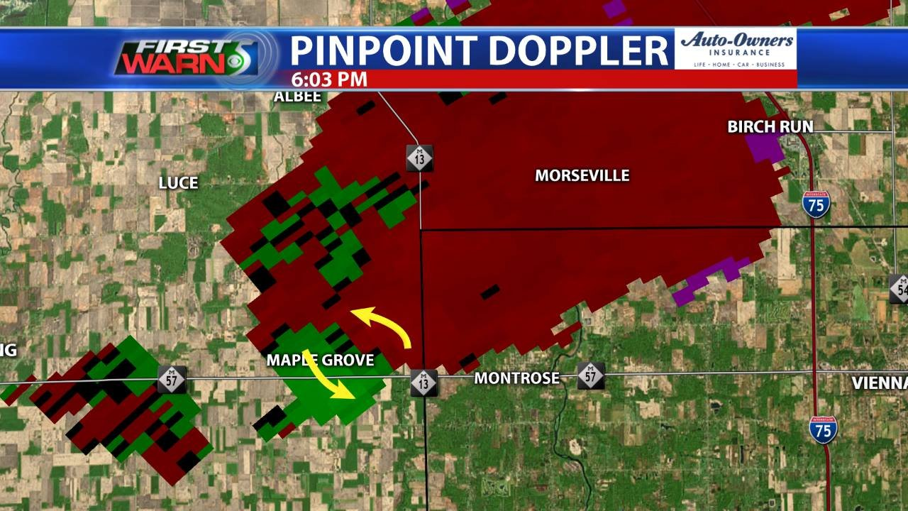 First Warn 5 Pinpoint Doppler Radar velocity image of the storm. (Red: outbound wind, Green: inbound wind)