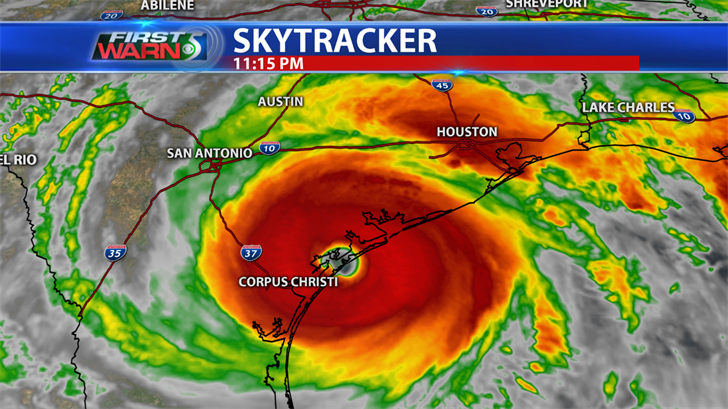 Infrared satellite image of Hurricane Harvey at the time of landfall near Rockport, TX.