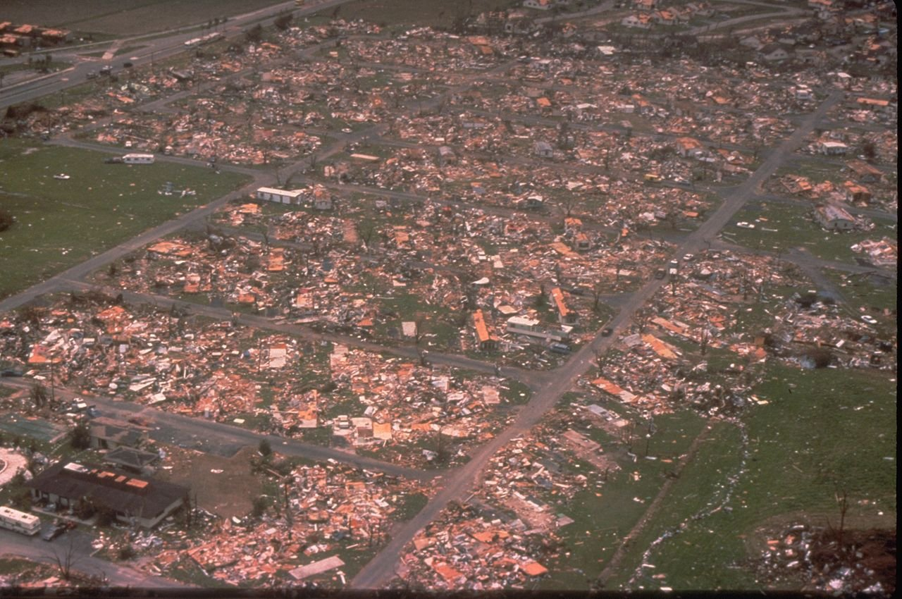 Mobile home park destroyed by Hurricane Andrew.