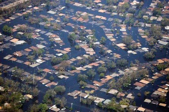 Flooding damage in New Orleans after Hurricane Katrina.