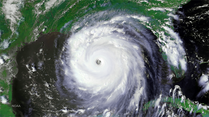 Satellite imagery of Hurricane Katrina at peak intensity over the Gulf of Mexico. Source: National Weather Service