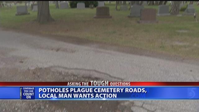 Video: Visitors upset about potholes inside Saginaw cemetery