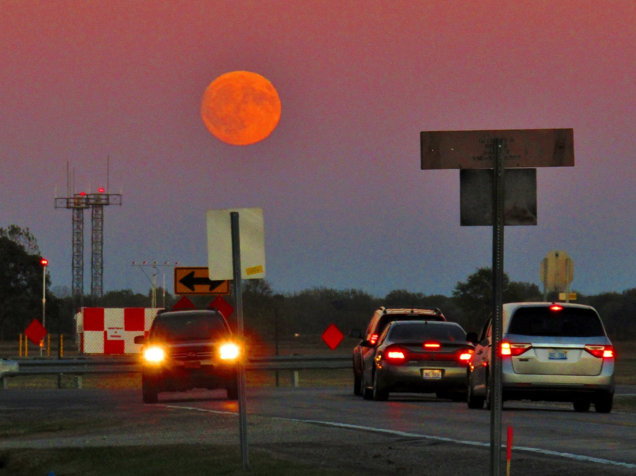 Harvest Moon over MBS International Airport, 10/5/2017. Photo By: Howard Sharper