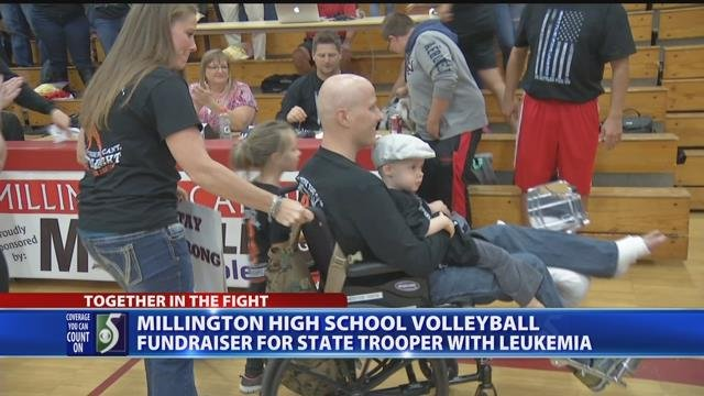 Millington High School volleyball fundraiser for MSP trooper with leukemia