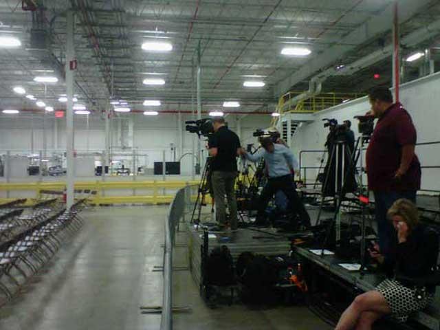 Media preparing for the president's visit. Photo/Jeff Jenkins