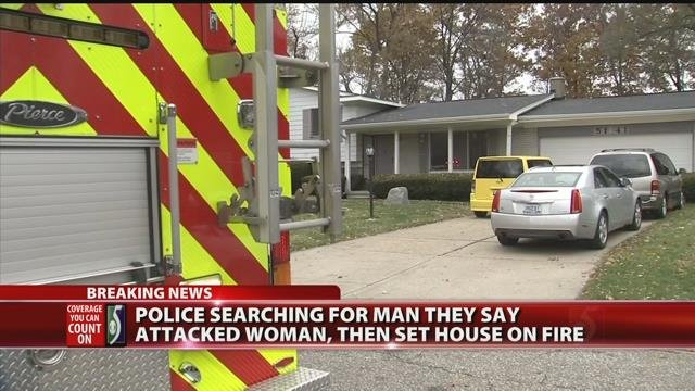 Video: Police searching for man who assaulted woman, set house on fire