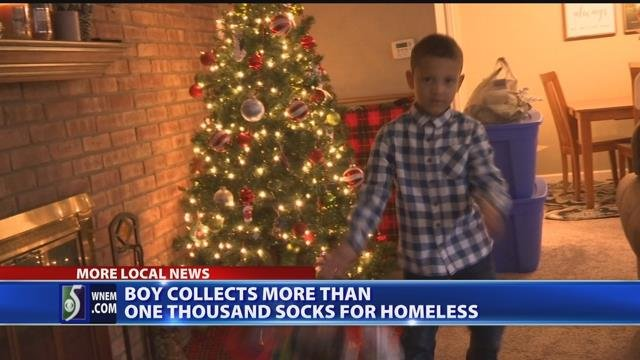 Video: Kid collects 1,400 socks for homeless shelter