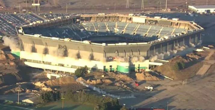 Second demolition attempt brings down upper section of Pontiac Silverdome