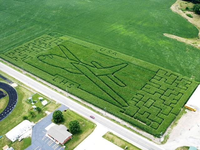 C-130 aircraft cut into corn field maze