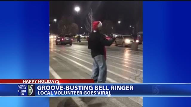 Video: Bell ringer spreads holiday cheer with festive performance