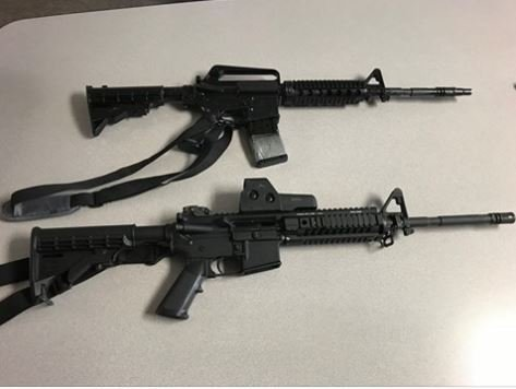 A real long rifle carried by police and the teen's airsoft rifle. Can you tell the difference? (Source: Essexville Police Department)
