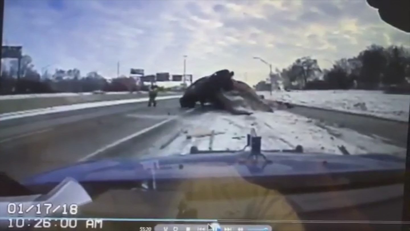 Video: Tow truck driver narrowly dodges death