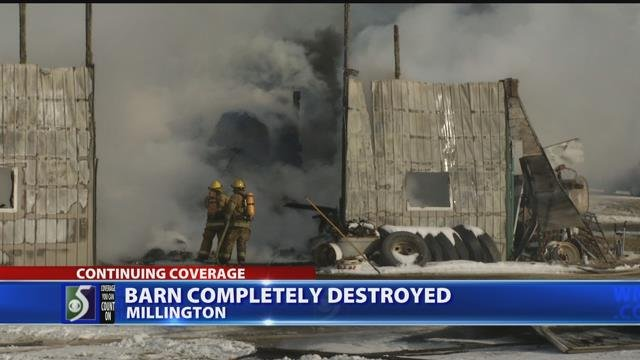 Video: Millington barn destroyed in fire