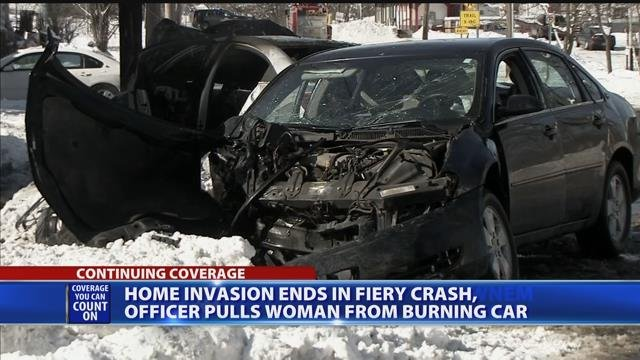 Video: Home invasion ends in fiery crash; 2 hurt