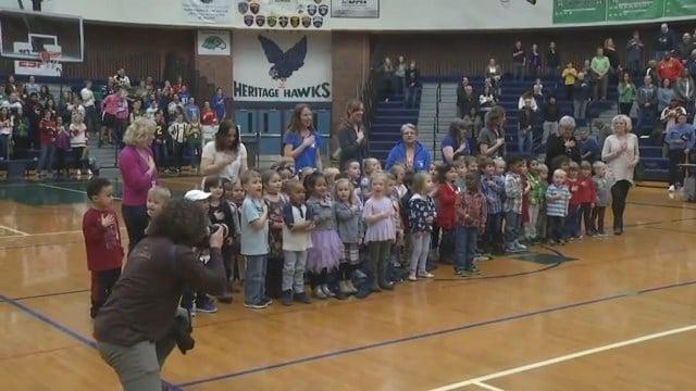 Step by Step Preschool sings the National Anthem