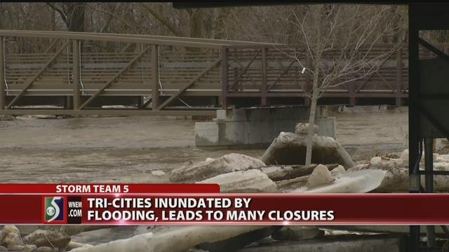 Tri-Cities inundated by flooding, leads to many closures