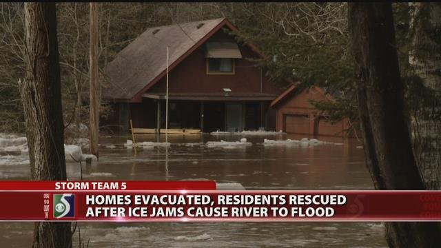 Residents rescued, evacuated after ice jams cause river to flood