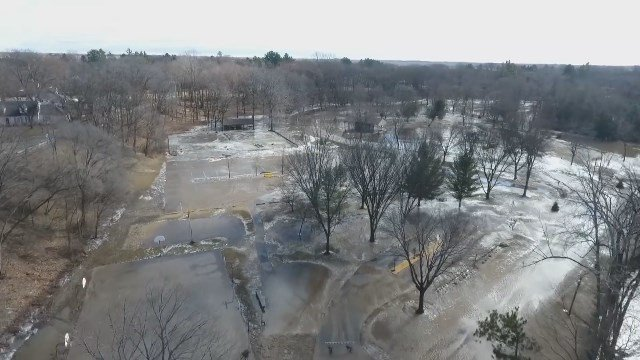 Video: Aerial footage shows flood damage in Gladwin County