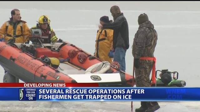 Several rescue operations after fishermen get trapped on ice