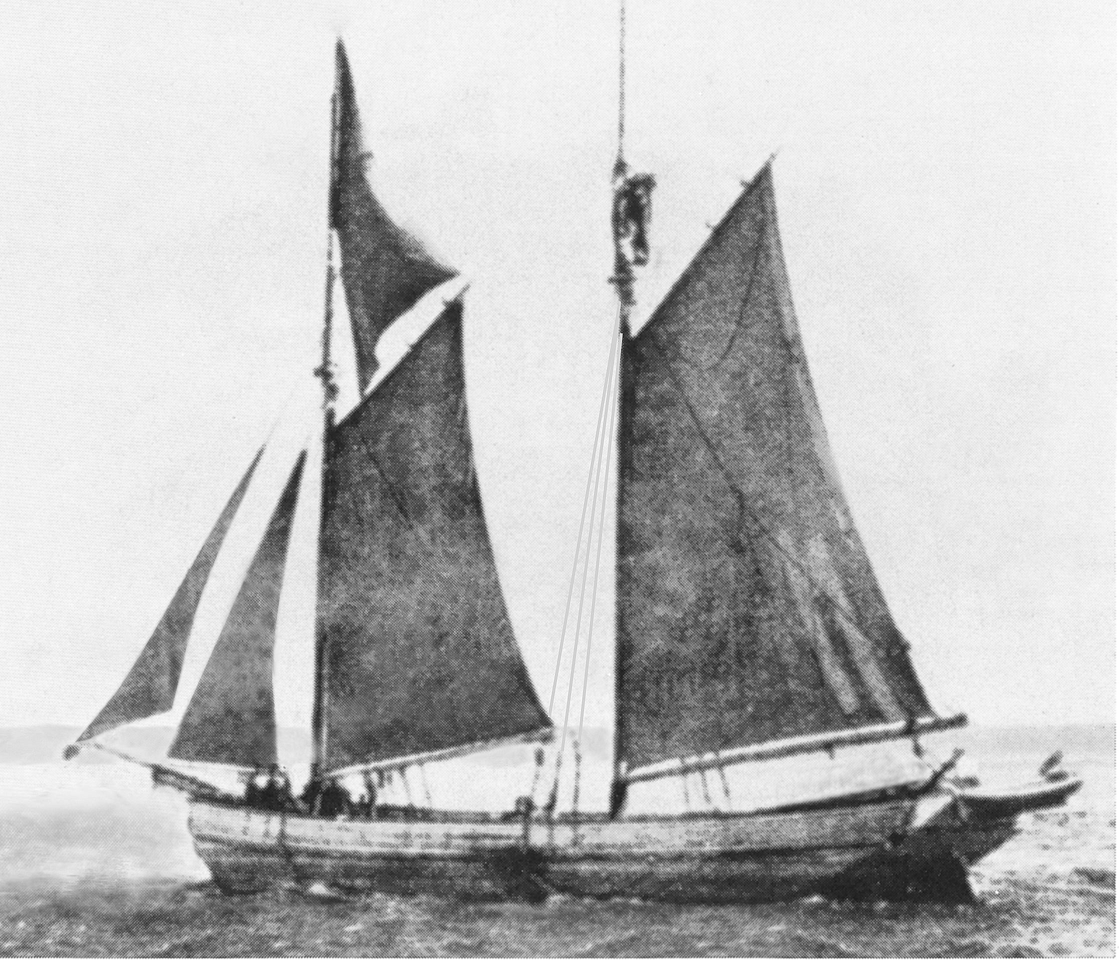 2-masted Schooner similar to Lizzie Throop. (Credit: Michigan Shipwreck Research Association)