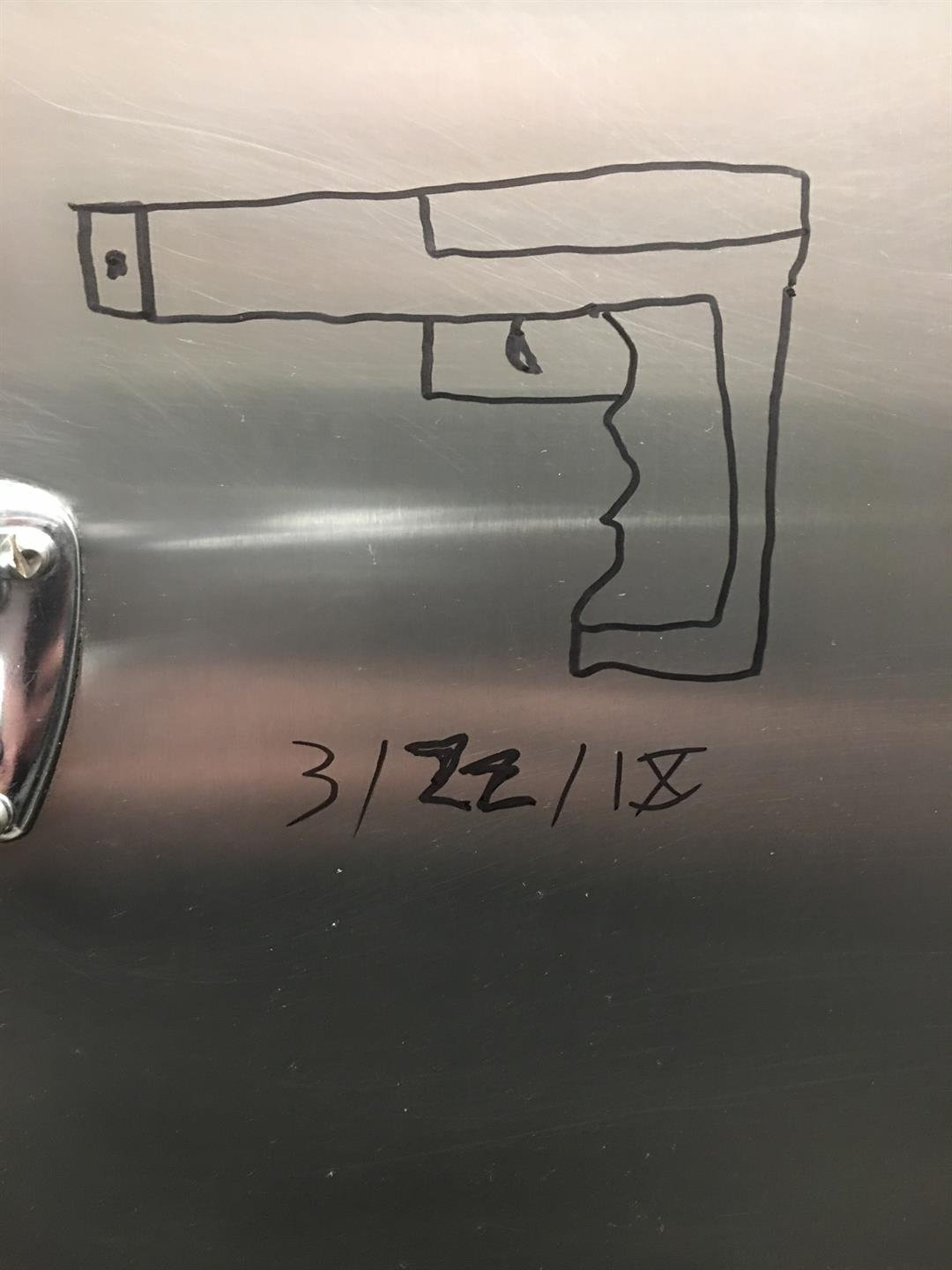 Drawing of threat found in bathroom on March 20 (Source: Delta College Public Safety)