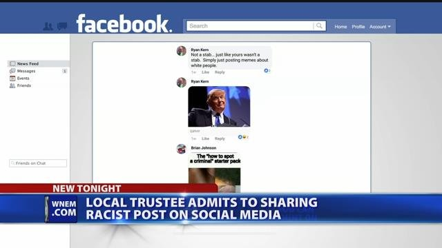 Video: Local trustee admits to sharing racist social media post