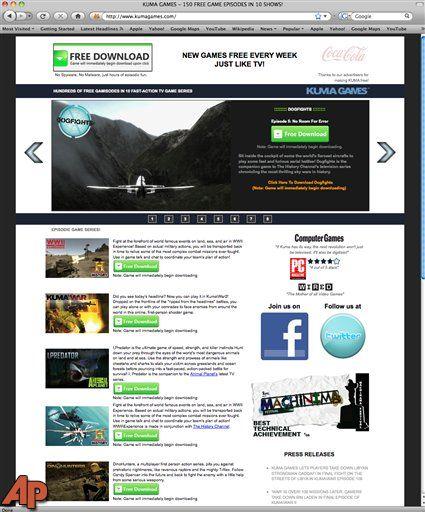 This screen shot shows the homepage of Kuma Games. (AP Photo/Kuma Games)
