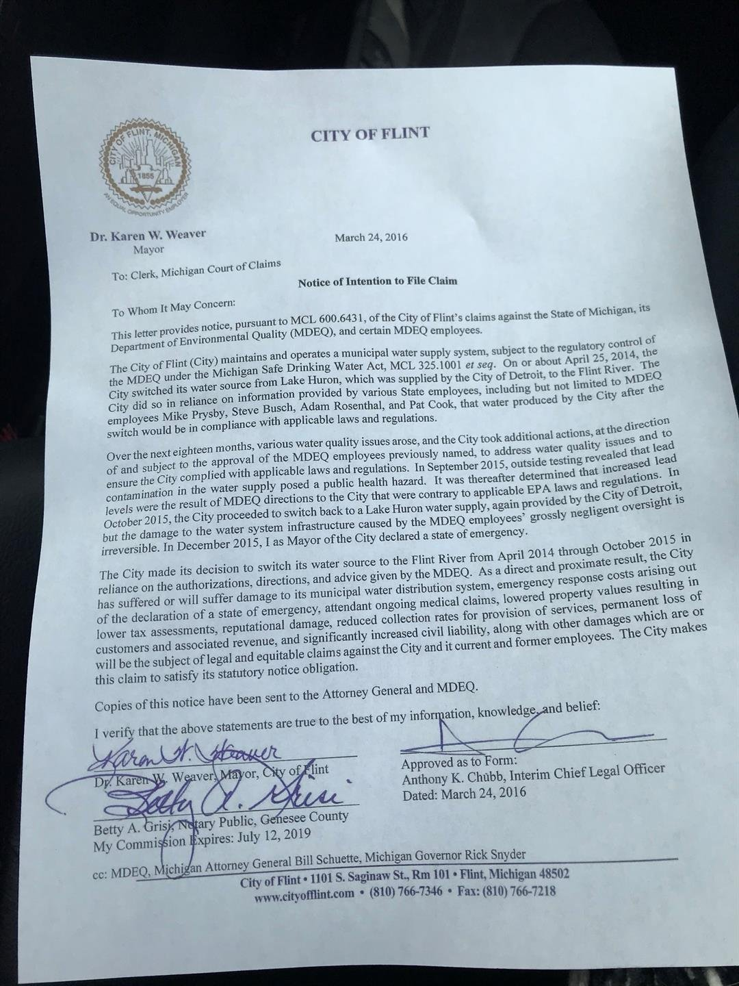 Flint's notice of intention to sue