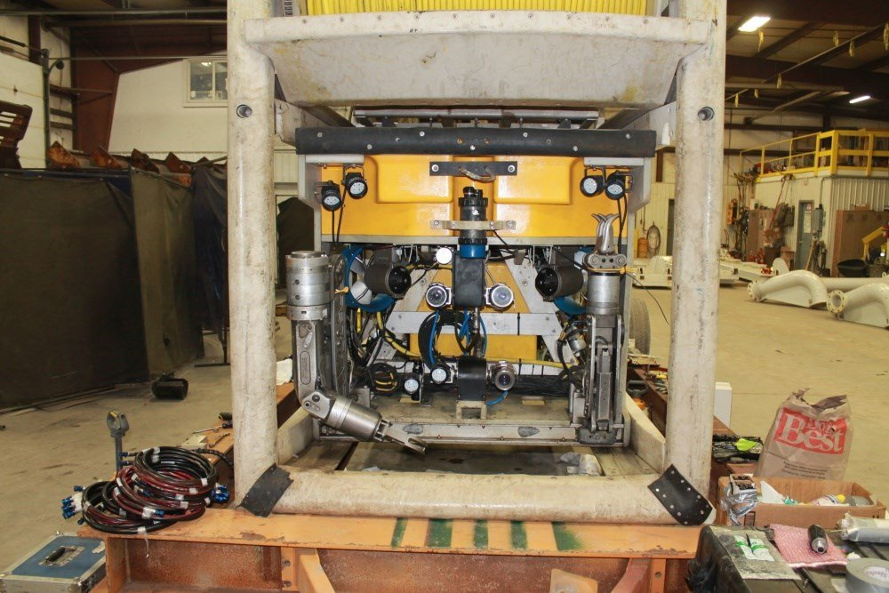 A remotely operated underwater Vehicle (ROV) is ready for deployment by American Transmission Company to obtain visual imagery of damage to underwater cables, April 14, 2018 (Source: U.S. Coast Guard)