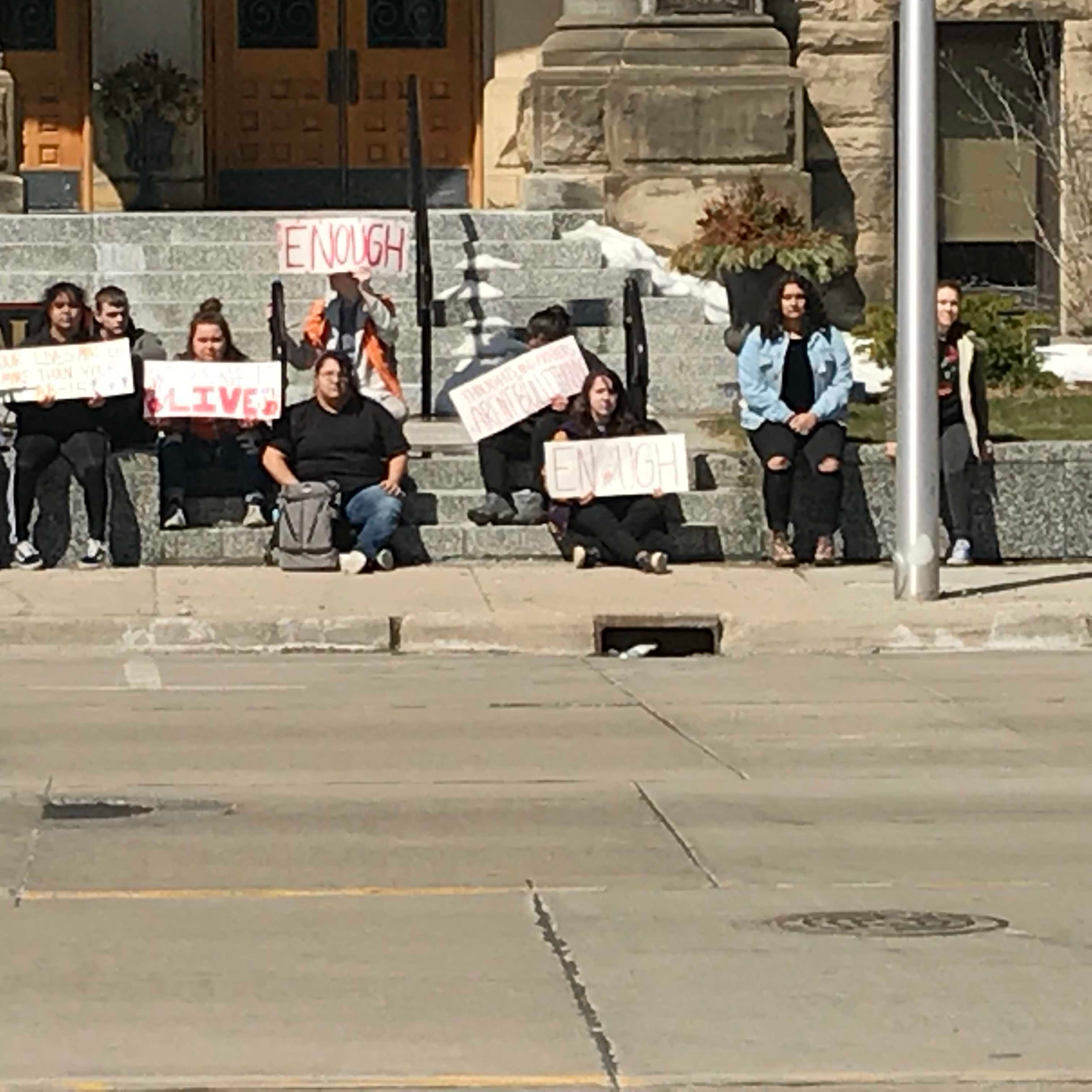 Protest at Bay City, City Hall (Source: WNEM)
