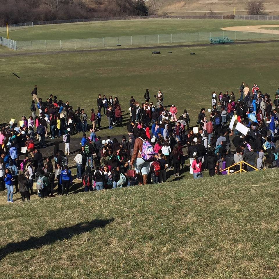 Walkout at Flint Southwestern Academy (Courtesy: Ms. Campbell)
