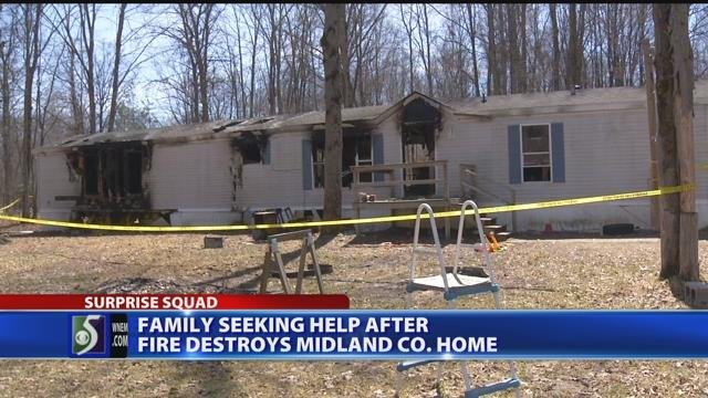 Family seeking help after fire destroys Midland Co. home