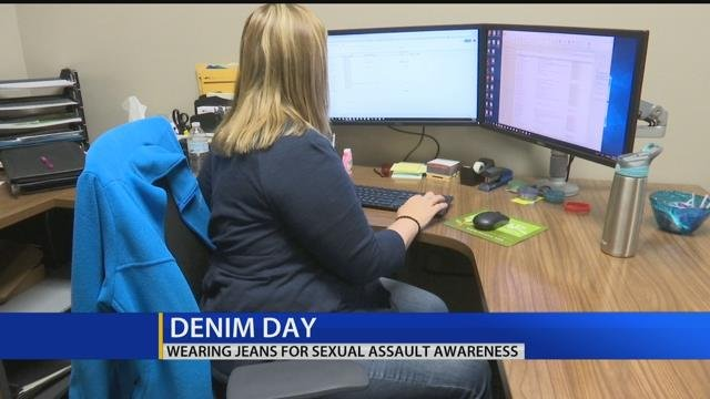 Wearing jeans for sexual assault awareness