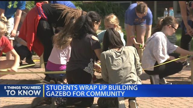 Students wrap up building gazebo for community