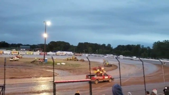 Runaway tractor at Tri-City Motor Speedway