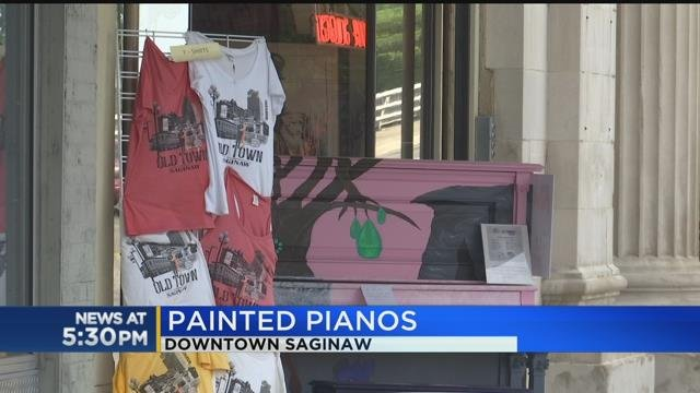 Painted pianos pop up in downtown Saginaw