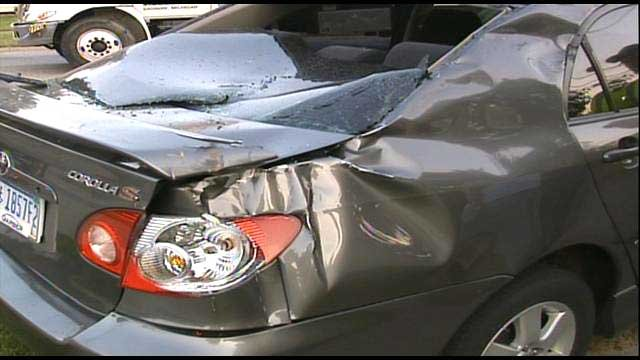 A closer look at the damage to the Corolla