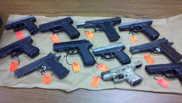 This photo shows the stolen guns police allegedly retrieved from the teen.
