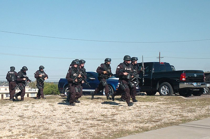 A SWAT team conducting drills.