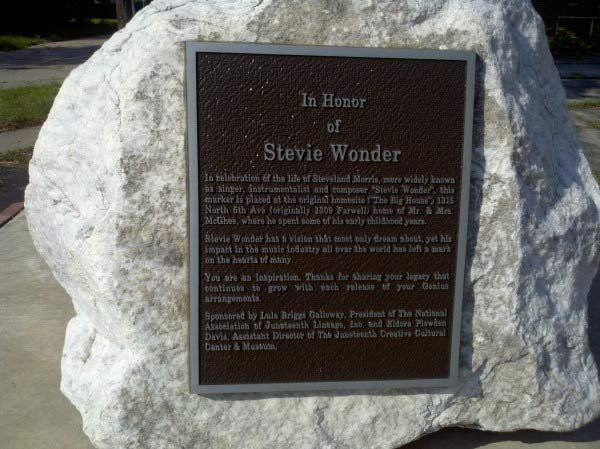 Plaque honoring Stevie Wonder in Saginaw