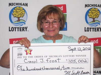 Carol J. Frost of Saginaw claims $105,000 from the 09/02/2012 Fantasy 5 drawing.