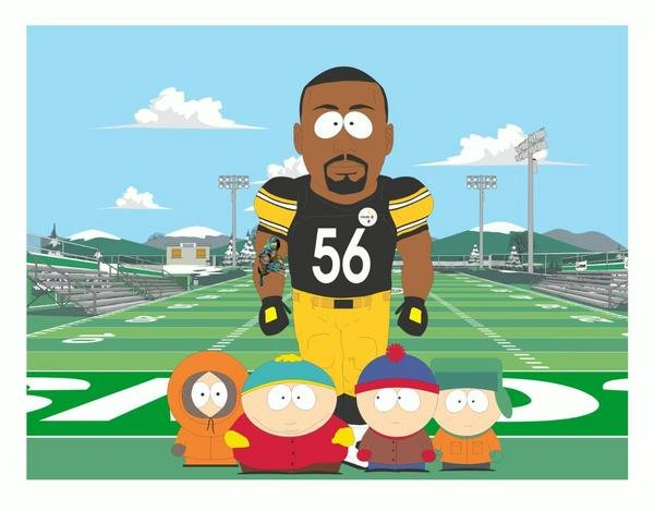 Woodley drawn with the main characters from South Park.