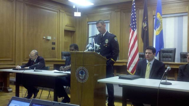 The City of Saginaw's acting Police Chief Brian Lipe addresses reporters.