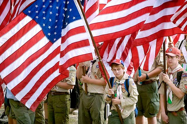 Boy Scouts at a national jamboree.