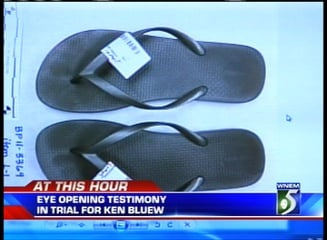 A pair of silver flip flops collected at the Jenny Webb crime scene.