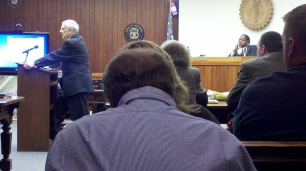 Prosecutor Mike Thomas giving his closing arguments.
